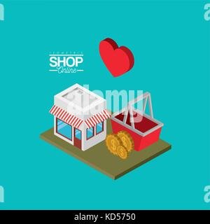 store with sunshade striped red and white and shopping basket coins and heart over green floor colorful poster isometric - Stock Photo