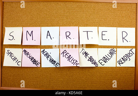 A yellow sticky note writing, caption, inscription Phrase SMARTER in black ext on a sticky note pinned to a cork - Stock Photo