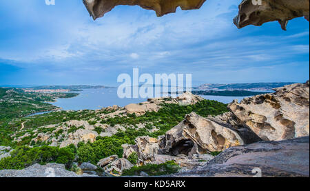 Capo D'orso Palau Sardinia Italy. View from Bear rock. East of the port of Palau you come upon the famous bear's - Stock Photo