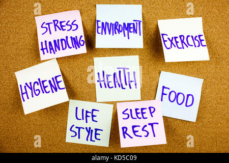 A yellow sticky note writing, caption, inscription health concept - word cloud or circle of contributing factors, - Stock Photo