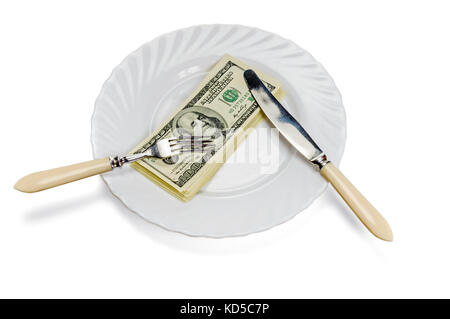 Eating money - bribe, fraud, corruption concept. Isolated on white. Work path - Stock Photo