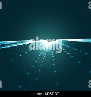 3D Abstract Polygonal Space Blue Vector Background with Low Poly Connecting Dots and Lines. Endless Mesh Representing - Stock Photo