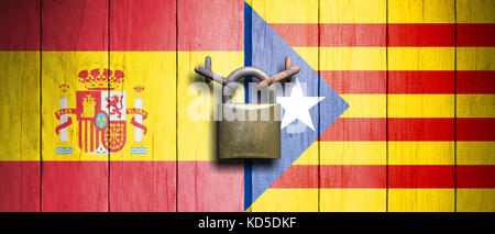 Spain and Catalonia relations. Spain and Catalonia flags on wooden door with padlock. 3d illustration - Stock Photo