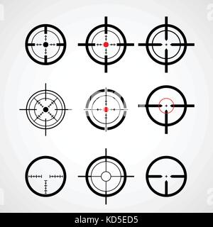 Crosshair (gun sight), target icons set - Stock Photo