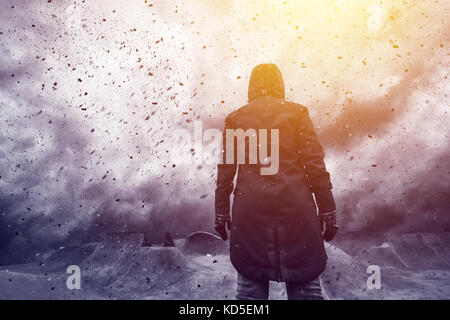 Conceptual image of young female person facing uncertain future, mixed media content with dramatic stormy clouds - Stock Photo