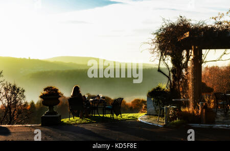 Lone lady relaxes with a coffee on the terrace of the Horn of Plenty, Gullworthy looking over a misty Tamar Valley - Stock Photo