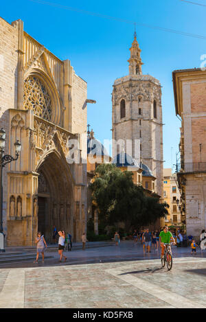Valencia Cathedral Spain, the west door of the Santa Catalina Cathedral and Miguelete Tower viewed from the Plaza - Stock Photo