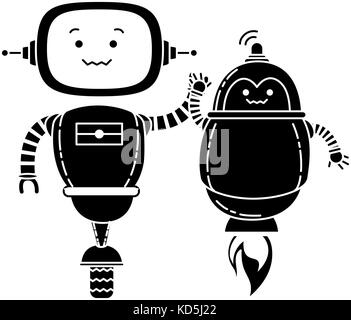 electronic robots characters icon - Stock Photo