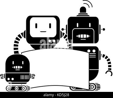 electronic robots with banner characters - Stock Photo