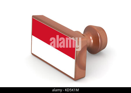 Wooden stamp with Indonesia flag image with hi-res rendered artwork that could be used for any graphic design. - Stock Photo