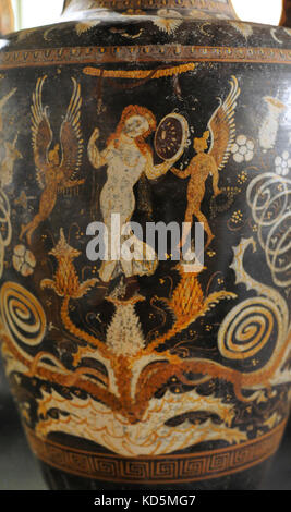 Greek Amphora Made In Paestum Detail 340 330 Bc Painter Of