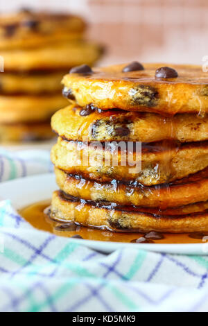 Sweet Potato Pancakes with Chocolate Chips - Stock Photo