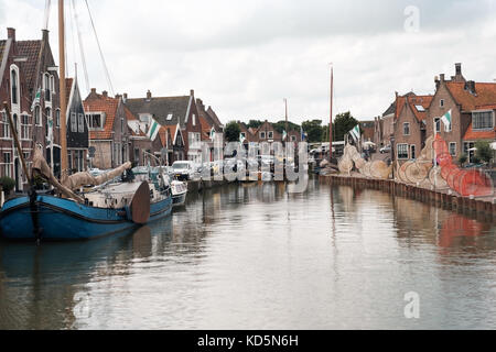 MONNICKENDAM, HOLLAND - July 26, 2017: Monnickendam, a touristic fishing town in the north of Netherlands. - Stock Photo