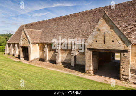 7 July 2017: Bradford on Avon, Somerset, England, UK - Built in the early 14th century as part of the Manor Farm - Stock Photo