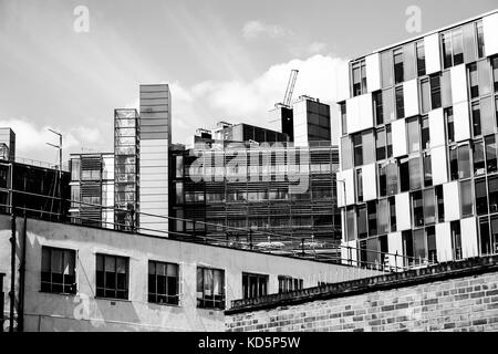 Black and White Monochrome Image Of Buildings in Paddington West London Showing a Mix of Old and New And Investment - Stock Photo