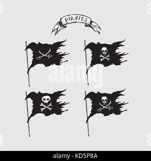 Collection of hand-drawn pirate flags, vector - Stock Photo
