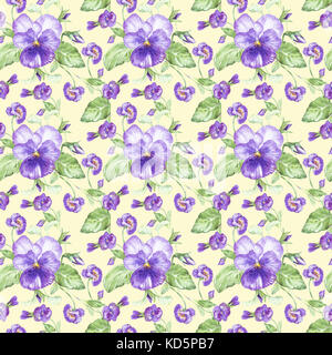 Illustration in watercolor of a pansy flower. Floral card with flowers. Botanical illustration seamless pattern. - Stock Photo