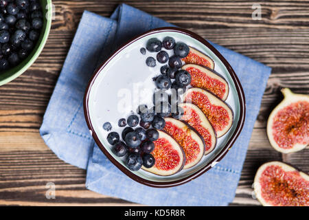 Delicious blueberry and fig yoghurt - Stock Photo