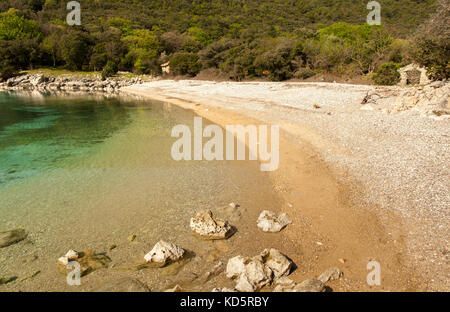 Beach Kruscica near Merag on the island of Cres (Croatia) - Stock Photo