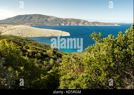 Coves near Ustrine on the island of Cres (Croatia) - Stock Photo