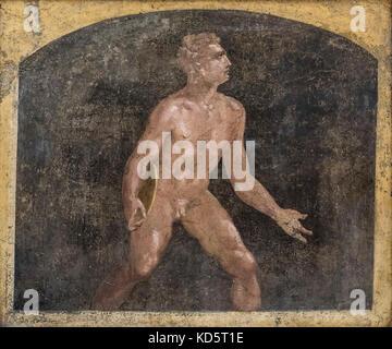 Naples. Italy. Roman fresco of a discus thrower, (1st century A.D.), from Villa Arianna, Castellammare di Stabia - Stock Photo