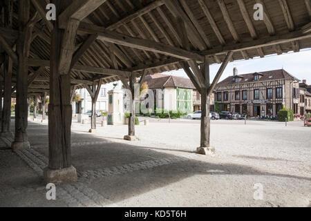 Market Hall in Piney, near Troyes, Champagne Region, France.  Hotel Restaurant Le Tadorne. - Stock Photo