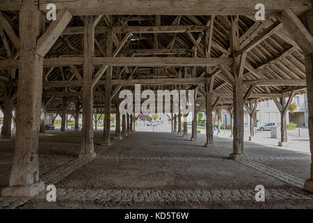 Market Hall in Piney, near Troyes, Champagne Region, France, interior, roof beams - Stock Photo