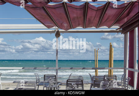 View of a beautiful terrace in a beach - Stock Photo