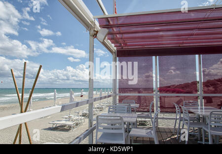 View of a beautiful pergola in a beach - Stock Photo