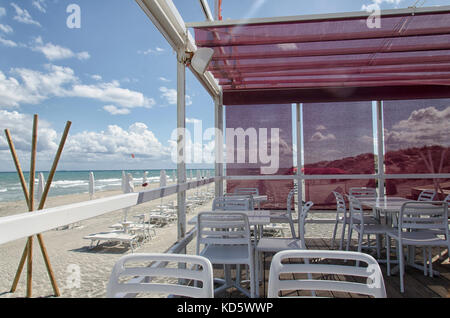 View of a pergola in a beach - Stock Photo