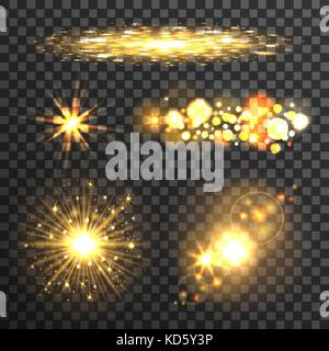 Gold stars set on transparent background - Stock Photo