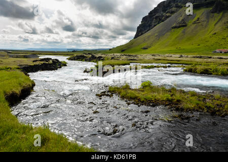Fossalar river (waterfall) near Vatnajokull national park on Ring road in summer, Iceland - Stock Photo