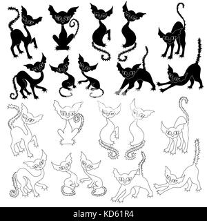 Halloween set of ten amusing cat silhouettes and with ten their respective contours, vector illustrations isolated - Stock Photo