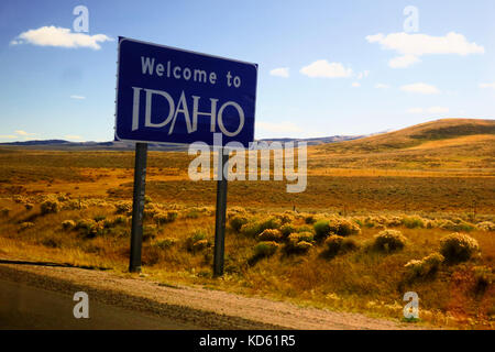 Welcome to Idaho sign. - Stock Photo