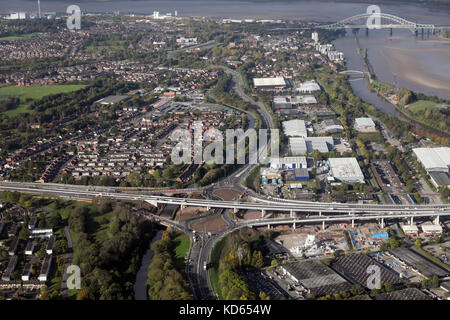 aerial view of the new A558 A533 road junction at Astmoor, Runcorn, Cheshire, UK - Stock Photo