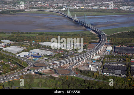 aerial view of The Mersey Gateway - the new bridge at Runcorn - Stock Photo