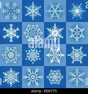 Snowflakes - filigree blue christmas pattern background with sixteen different tiles - seamless extendable illustration. - Stock Photo