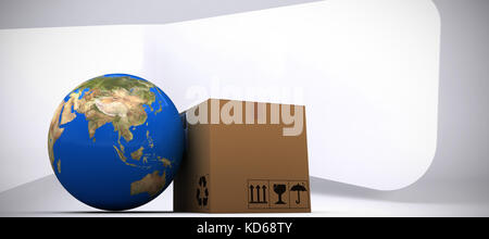 3D image of planet Earth and box against abstract room - Stock Photo