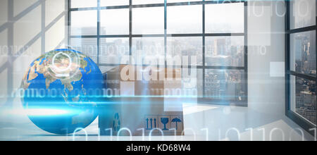 3D image of planet Earth and box against blue technology design with binary code - Stock Photo