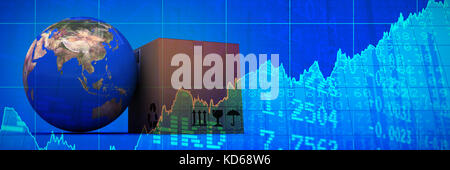 3D image of planet Earth and box against stocks and shares - Stock Photo