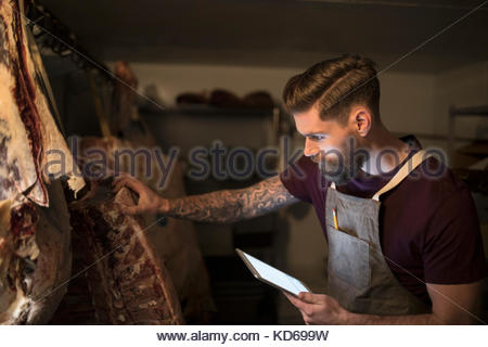 Male butcher with digital tablet examining meat slabs dry aging - Stock Photo