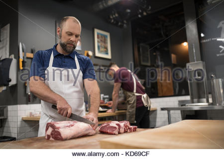 male butcher in front of meat counter stock photo 15760934 alamy. Black Bedroom Furniture Sets. Home Design Ideas
