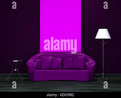 ... Purple Sofa With Table And Stand Lamp In Dark Minimalist Interior    Stock Photo