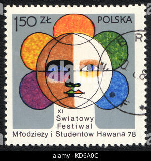 A postage stamp printed in POLAND shows XI International Festival of Youth and Students in Havana, circa 1978 - Stock Photo