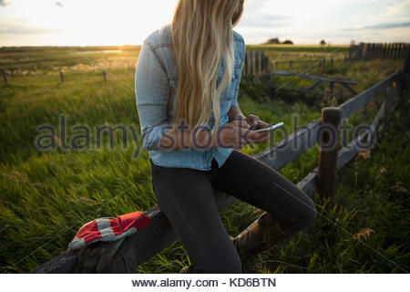 Young blonde female farmer texting with cell phone on fence on farm - Stock Photo