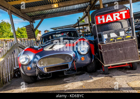 David and Oliver Hart's 1963 AC Cobra in the paddock garage at the 2017 Goodwood Revival, Sussex, UK. RAC TT Celebration - Stock Photo