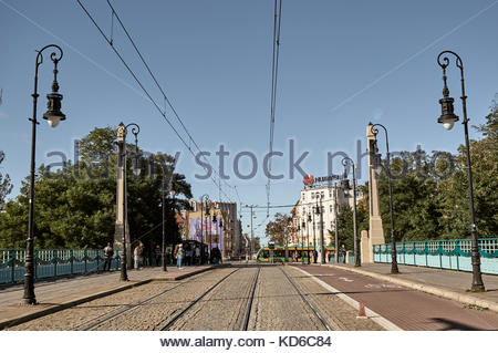 The Most Teatralny bridge with bicycle route and tram tracks in the city center on October 2017 in Poznan, Poland - Stock Photo