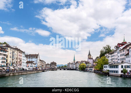 View of the old town and River Limmat from the Rudolf-Brun-Brücke, Zürich, Lake Zurich, Switzerland - Stock Photo