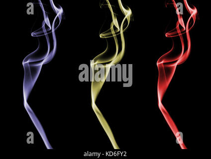 Plumes of smoke from a match that have been edited to produce colourful and vibrant results - Stock Photo
