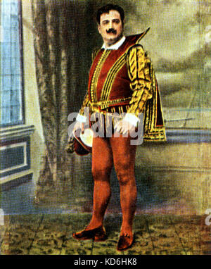 Enrico Caruso as the Duke in Verdi's 'Rigoletto'. Eckstein card, after a photograph.  Italian tenor, 1873-1921. - Stock Photo